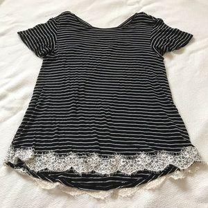 Xhilaration Striped Black and White Lace T-Shirt